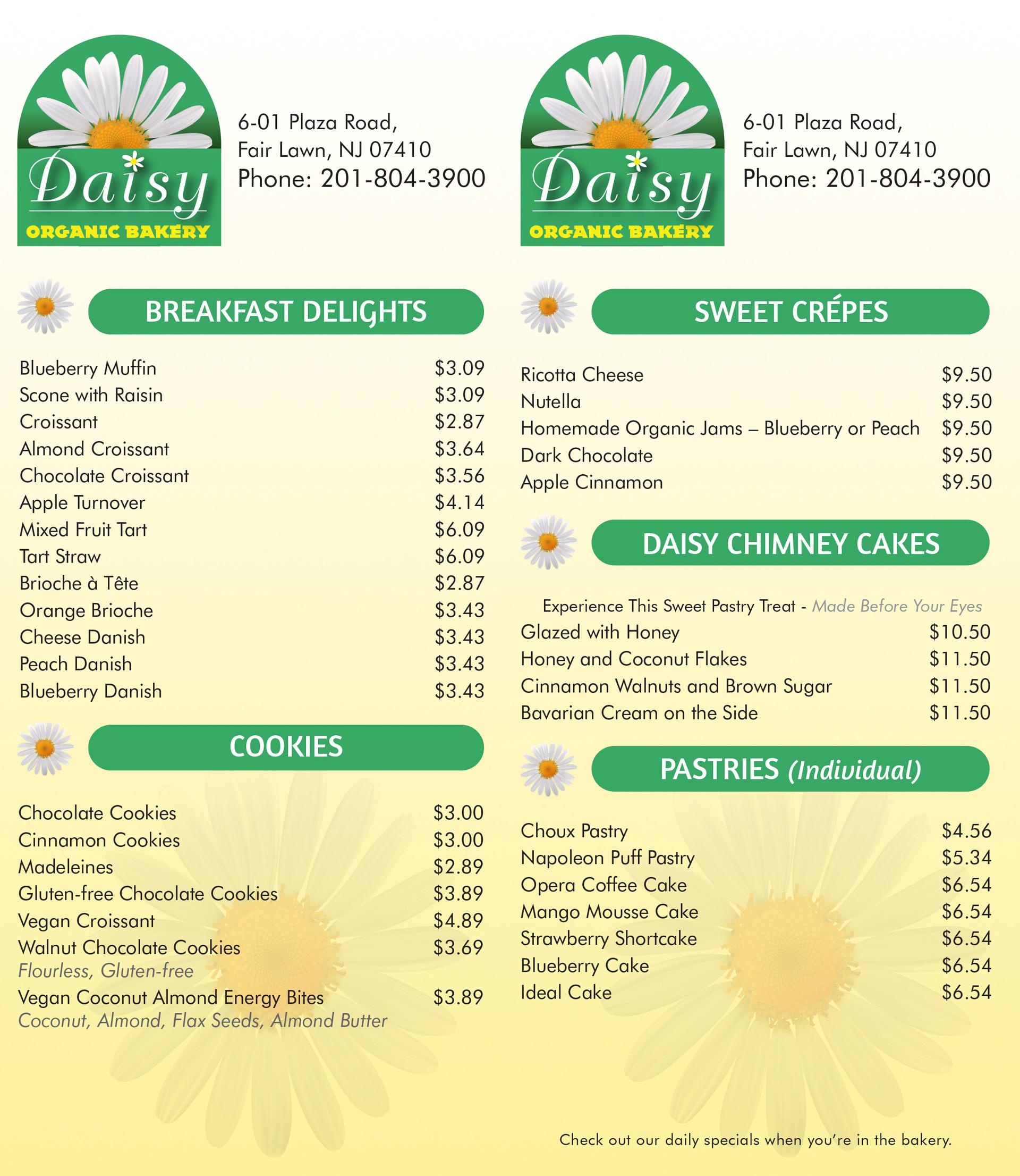 Daisy Organic Bakery Menu